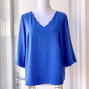 Blue 3/4 Sleeve Scalloped Blouse